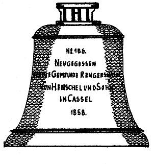 Die im Jahr 1858 von der Firma Henschel gegossene Glocke.